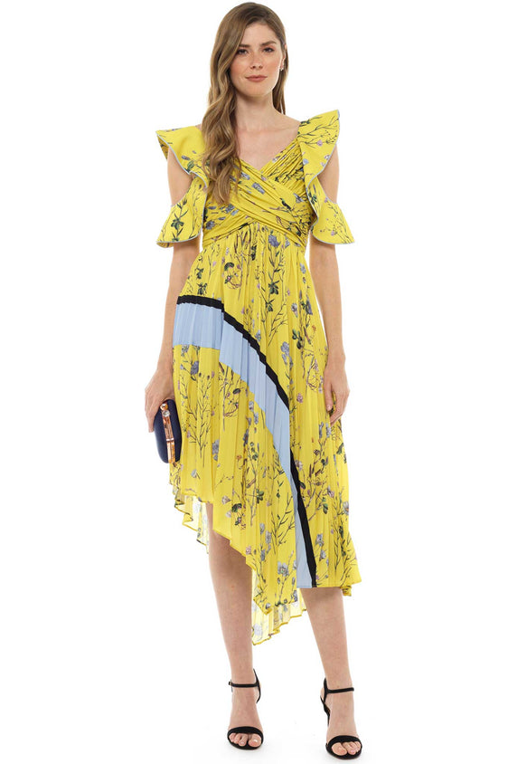 Self Portrait Yellow Floral Pleated Midi Dress
