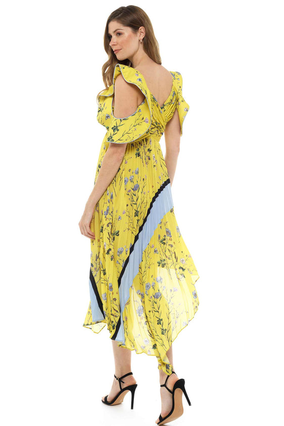 Yellow Floral Pleated Midi Dress
