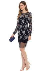 Diane Von Furstenberg Long Sleeved Lace Mini Dress