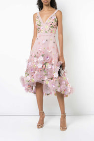 Floral Applique Midi Dress