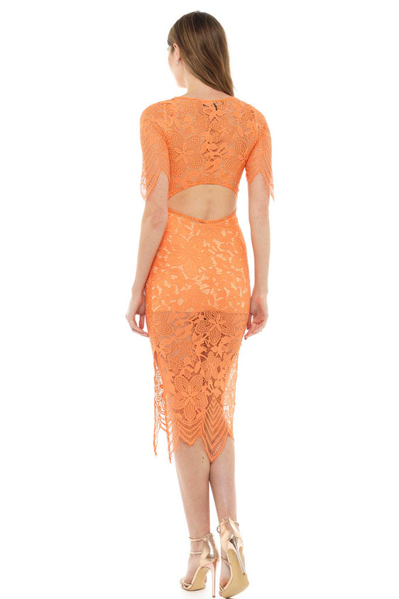 For Love and Lemons Orange Lace Midi Dress
