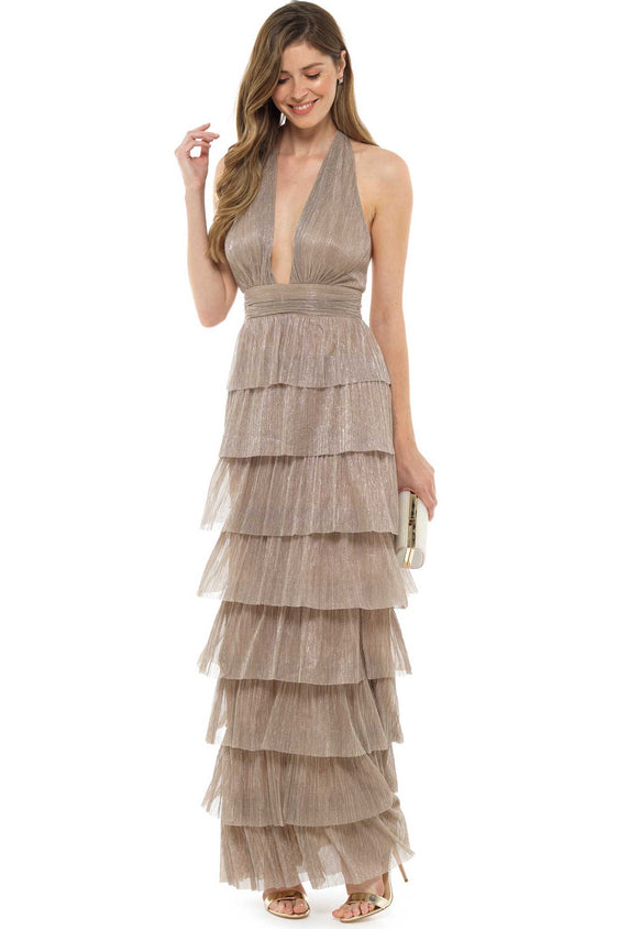 Marleen Metallic Ruffle Maxi Dress