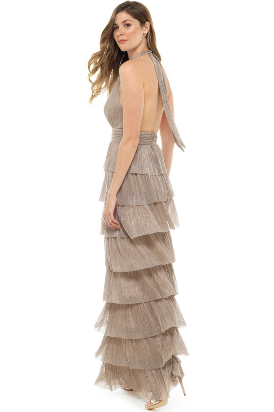 Forever Unique Marleen Metallic Ruffle Maxi Dress