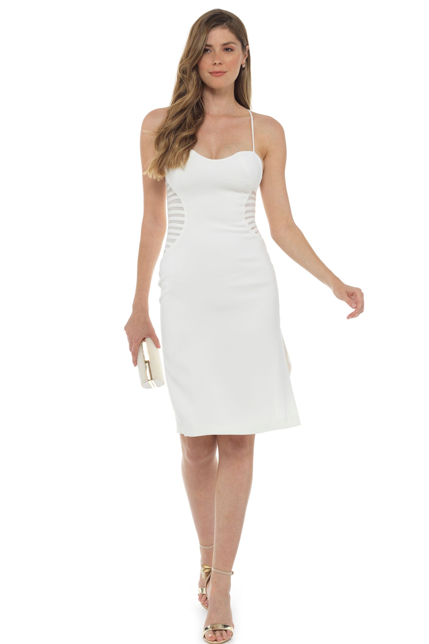 Halston Heritage White Crepe Fitted Midi Dress