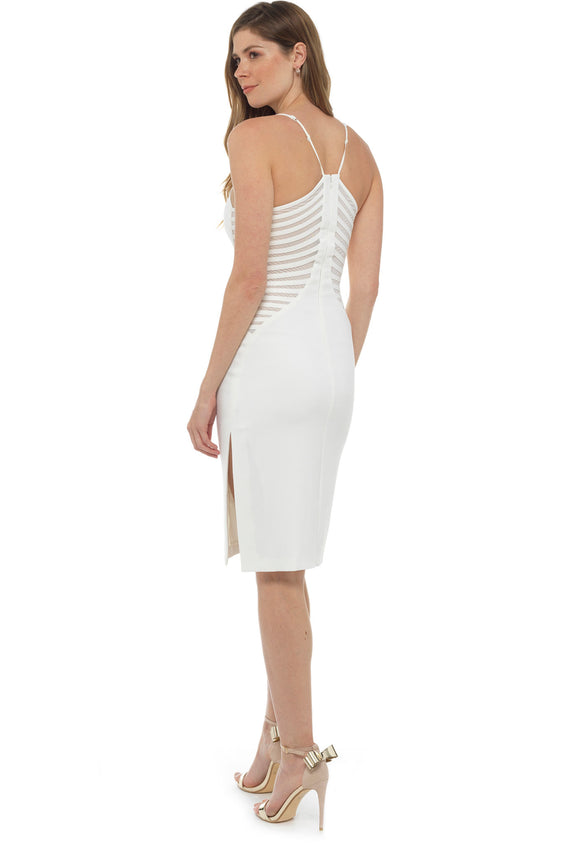 White Crepe Fitted Midi Dress