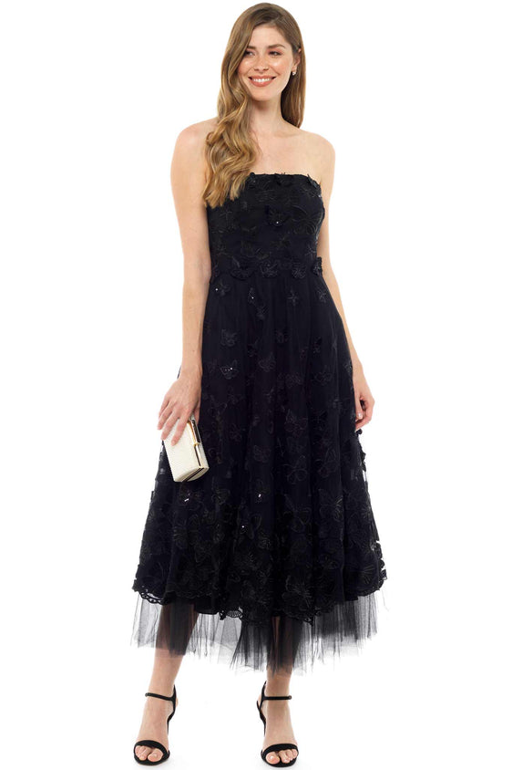 MARCHESE NOTTE BLACK BUTTERFLY TEA DRESS