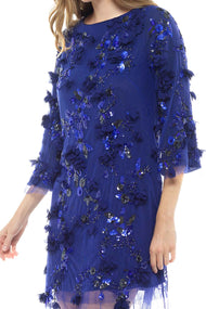 Marchesa Notte Blue Embellished Shift Dress