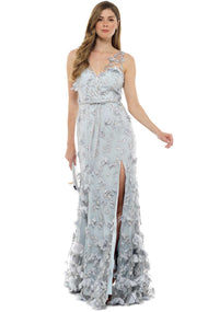 Grey Floral Applique Gown