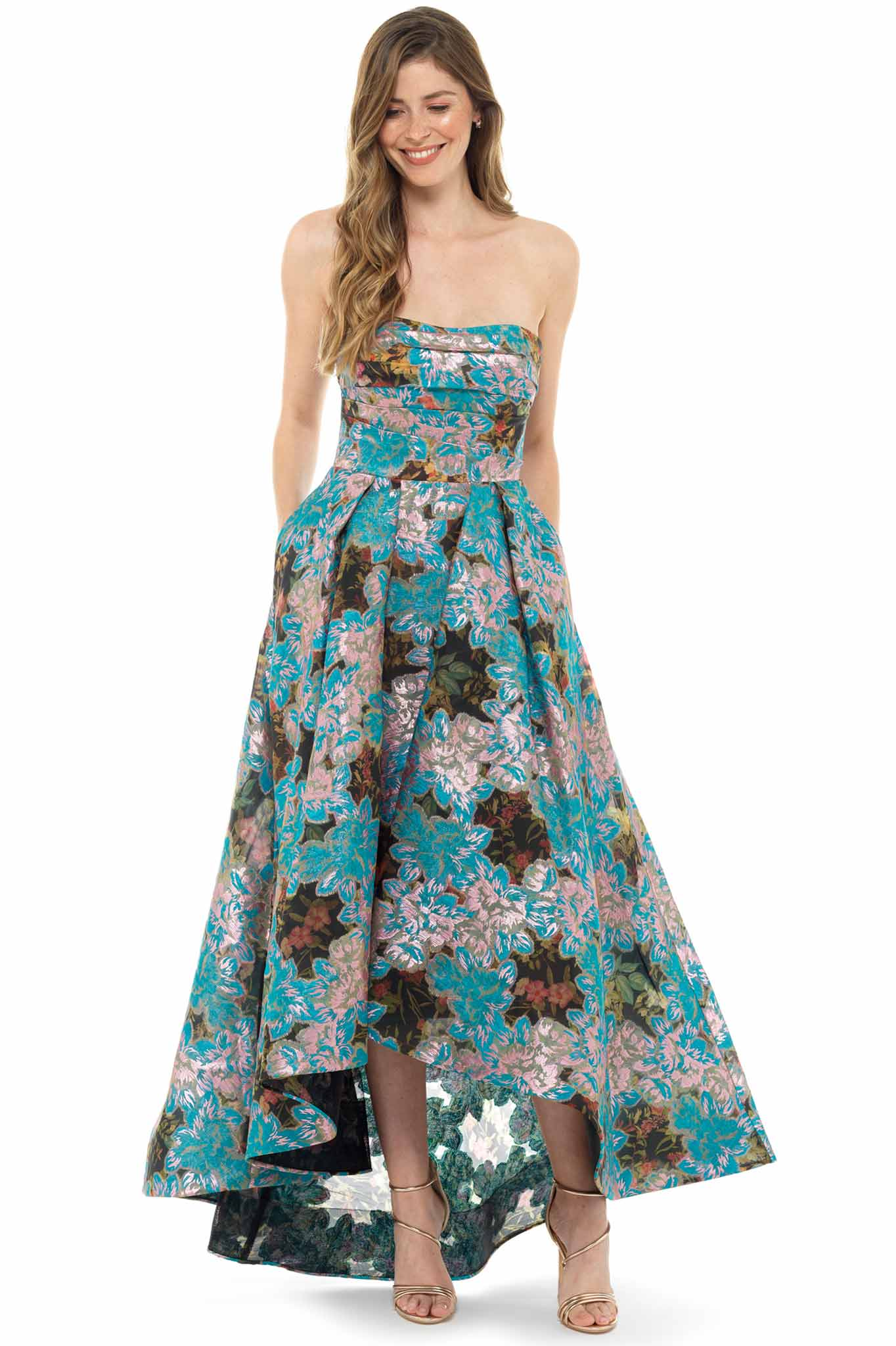 Marchesa Notte Turquoise Jacquard Gown