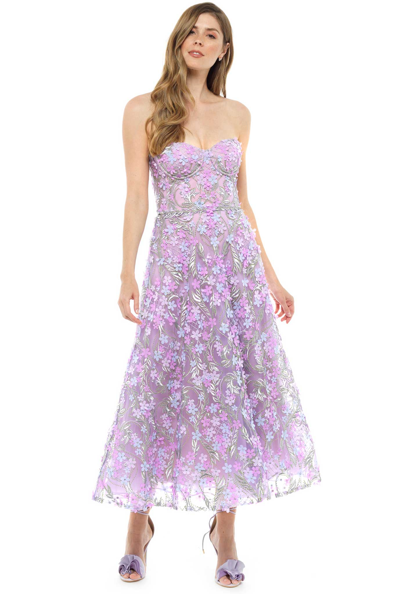 Marchesa Notte Lavender Floral Midi Dress