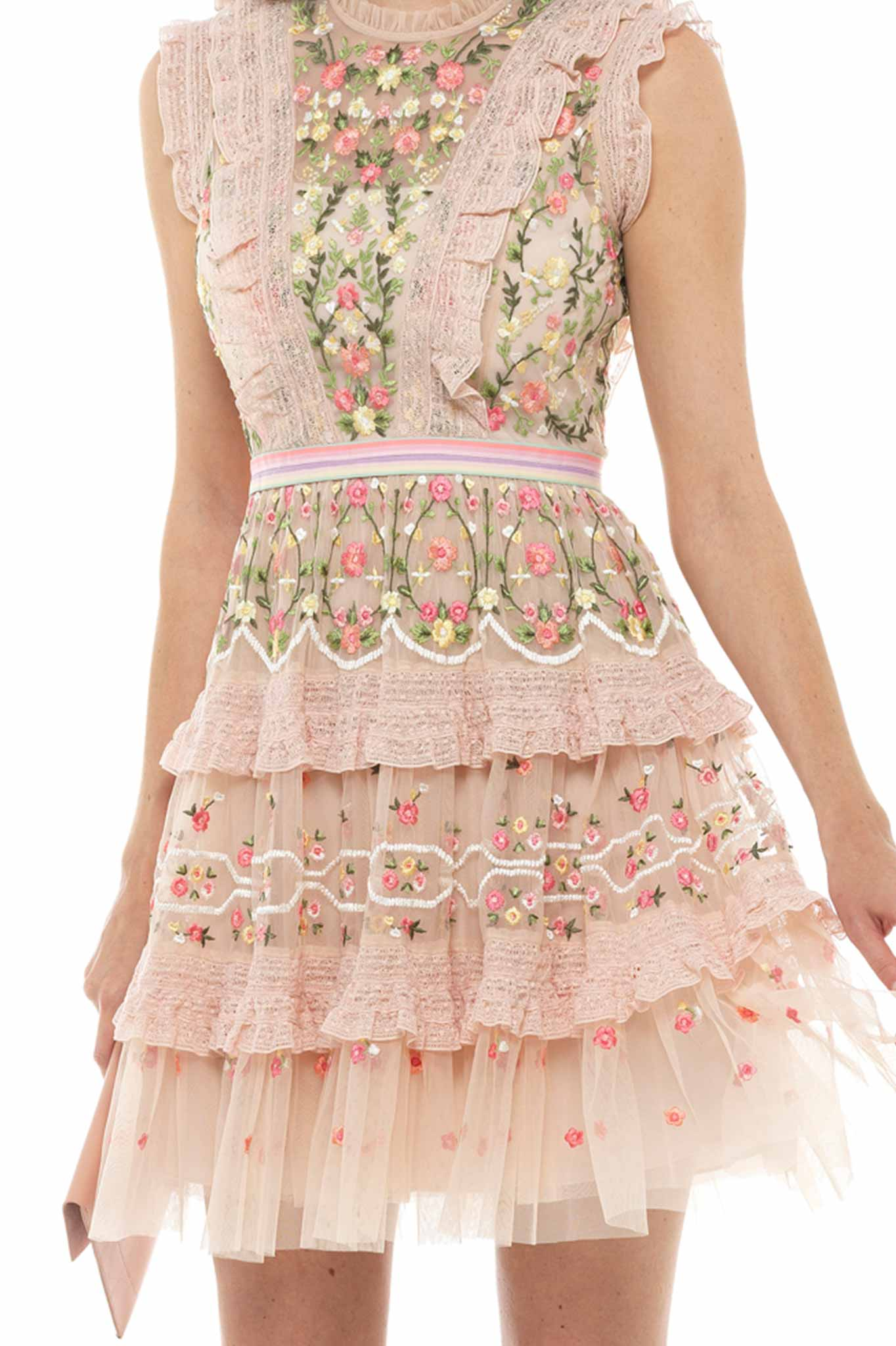 Petal Pink Embellished Ruffle Dress