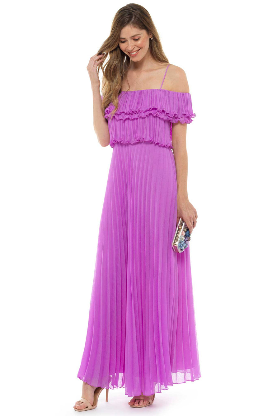 Pink Pleated Off the Shoulder Maxi Dress