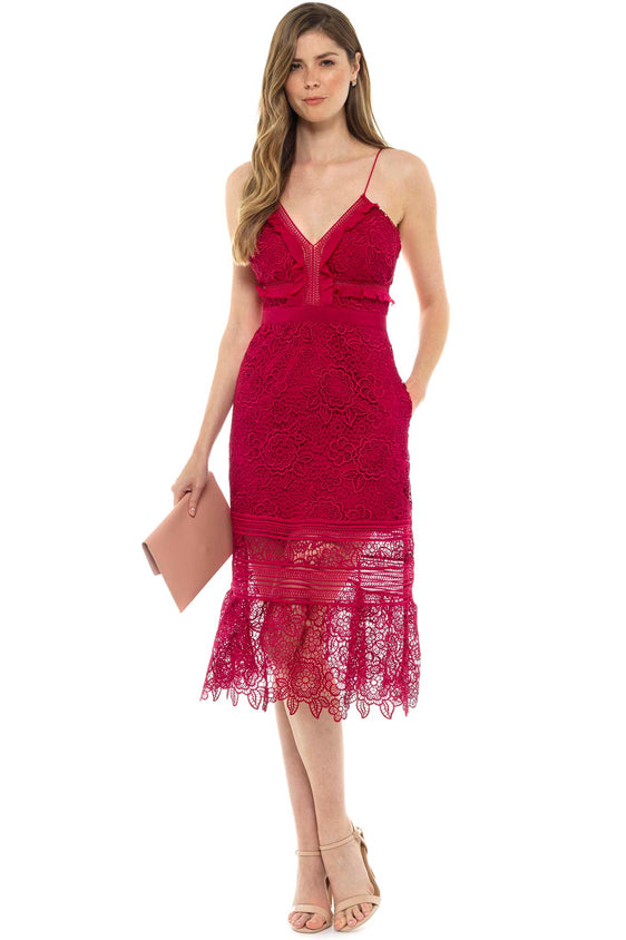 Red Ruffled Guipere Lace Dress