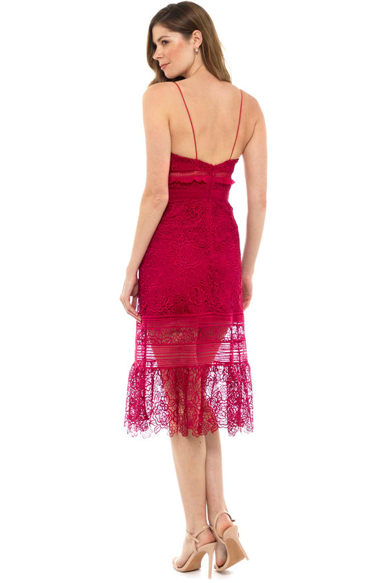 Self Portrait Red Ruffled Guipere Lace Dress