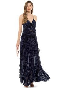 Self Portrait Navy Blue Chiffon Maxi Dress