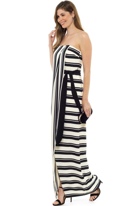 Halston Heritage Strapless Stripe Maxi Dress