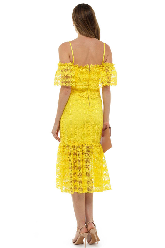 Three Floor Yellow Lace Midi Dress