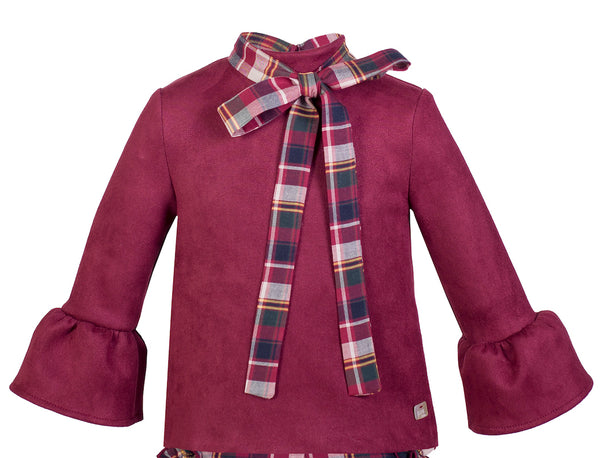 CAMISA CNA 709 Color granate con lazo / GIRL'S SHIRT CNA 709 Dark red with tie