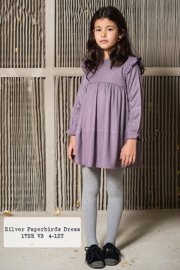 Vestido Malva con dibujo en plata/ Light purple Silver Paperbirds Dress