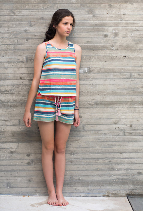 Conjunto Top y Short rayas niña Oh!Soleil - Girl's outfit Top and short colour stripes Oh!Soleil.