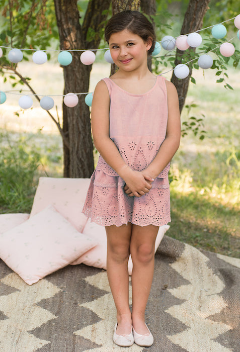 Conjunto Top y falda rosa niña Oh!Soleil - Girl's outfit Top and skirt in soft pink Oh!Soleil.