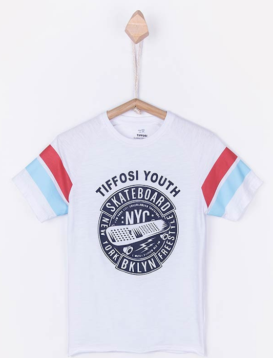 Camiseta blanca con print Chico Youth / White printed boy's T-Shirt- Youth