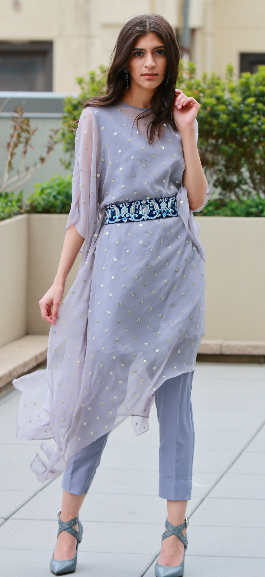 Asymmetrical Kaftan with Embellished Belt
