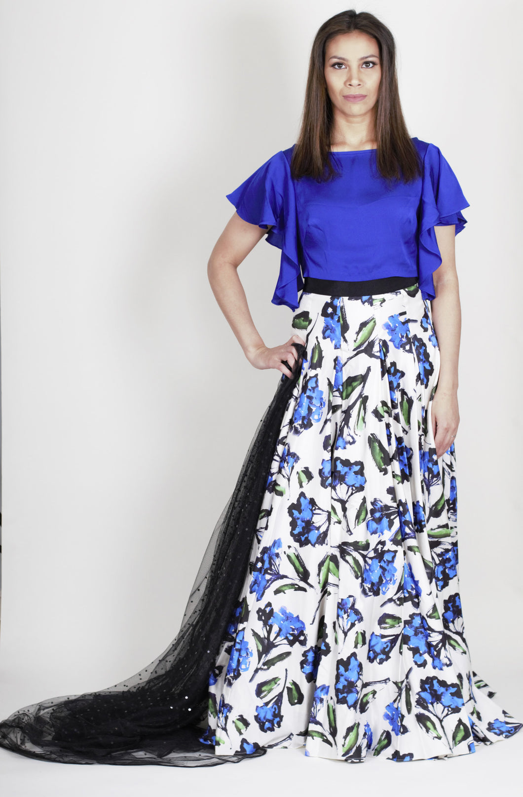 Milly Floral Skirt and Flutter Sleeve Blouse