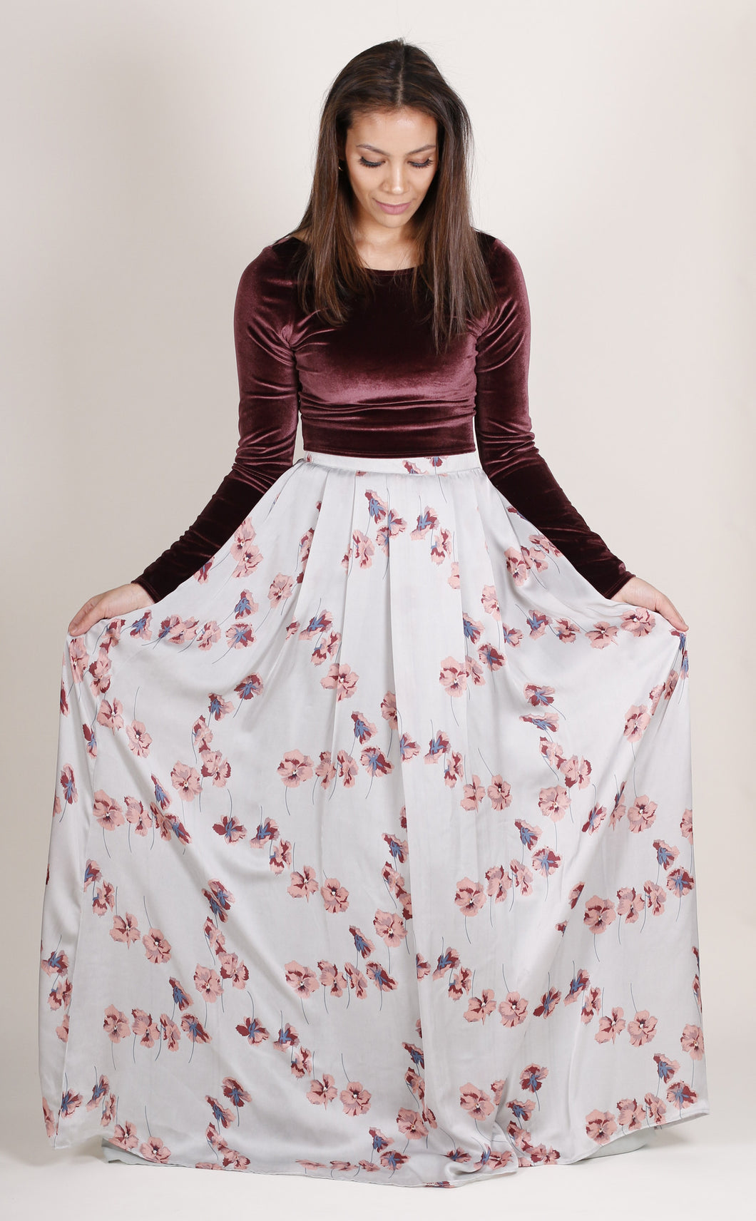 Floral Skirt with Velvet Top