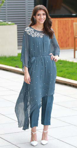 Asymmetrical Kaftan with Motif