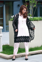 Net Coat-Black and Pink