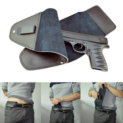 Concealed Carry Belt Leather Holster For Compact and Super Compact Pistols and Revolvers
