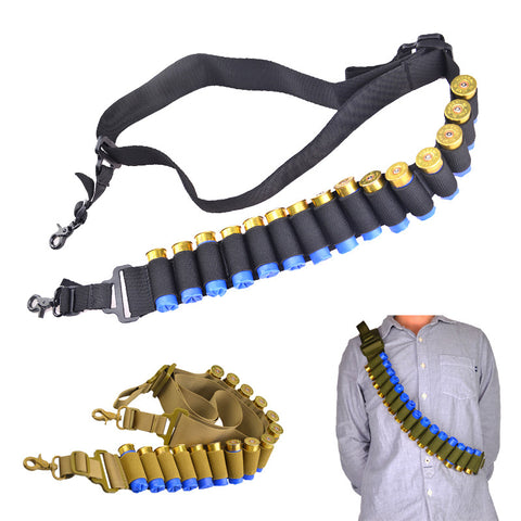 2 Point Rifle Shotgun Gun Sling Bandoleira 15 Shell Ammo Holder Bandolier 12Ga 20Ga