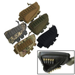 Tactical Rifle Butt Stock Ammo Shell Holder Cheek Rest Pouch Cheek Rrest Riser