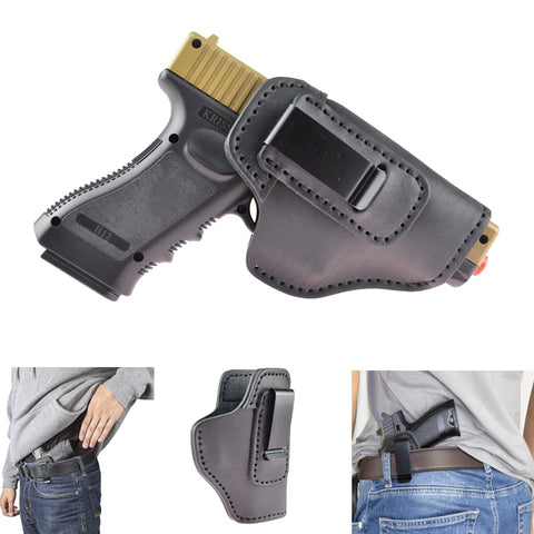 Leather IWB Holster For S&W M&P Shield - GLOCK 17 19 22 23 32 33 / Springfield XD & XDS / Plus All Similar Sized Handguns -Right Hand