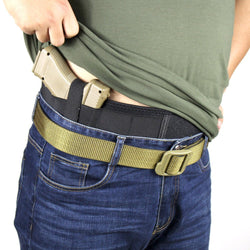 Belly Band Holster for Concealed Carry with Retention Strap and Mag Pouches | Ambidextrous Use Free Size for Women Men