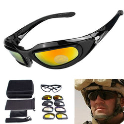 C5 Military Goggles 4 Lenses Outdoor Sports Sunglasses
