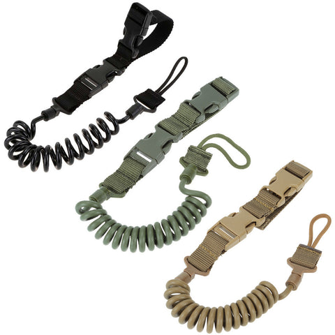 Combat Sling Telescopic Tactical Pistol Hand Gun Secure Lanyard Spring Sling with Magic tape Belt