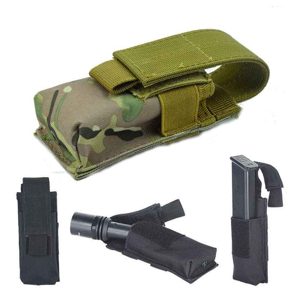 Molle MOD Tactical Single Pistol Magazine Flashlight Pouch Holster