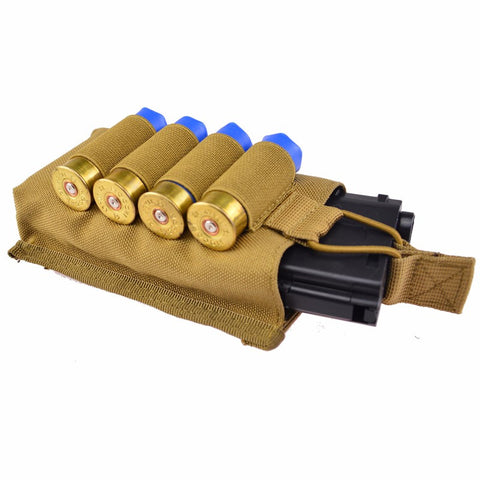 Single Molle Open 5.56mm Magazine Pouch with 4 rounds 12 Gauge Shotgun Shells