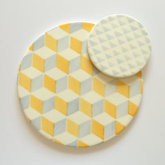 Colourful ceramic coasters