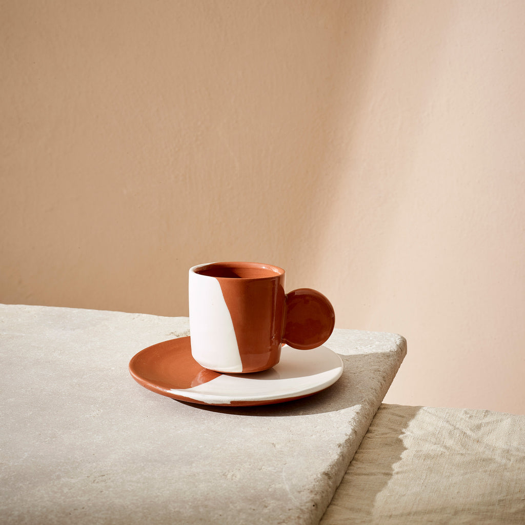 PRE-ORDER Terracotta Dipped Espresso Cup + Saucer