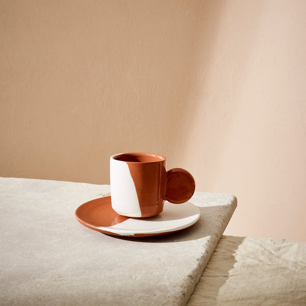 Terracotta Dipped Espresso Cup + Saucer