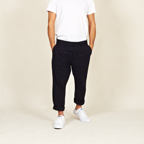 Boticas cotton flannel chinos black front