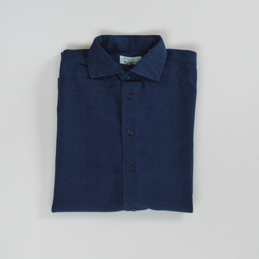 Mens navy denim shirt front folded