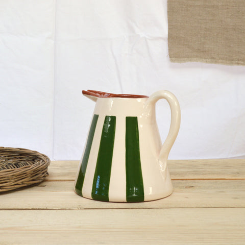 terracotta striped jug green