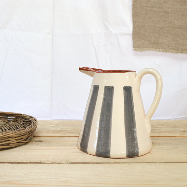 terracotta striped jug ash grey