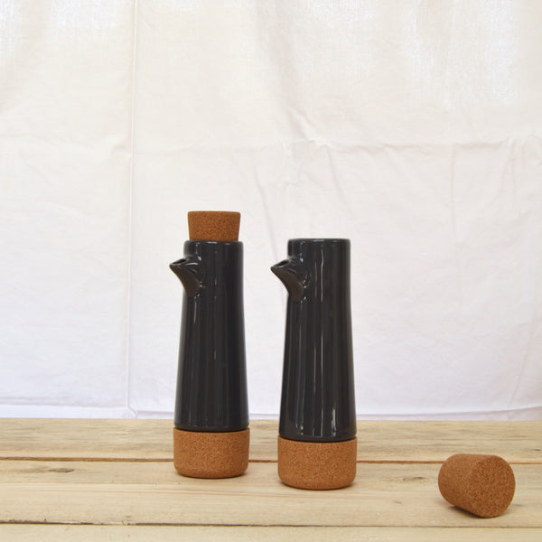 Cork and ceramic oil and vinegar cruet dark grey