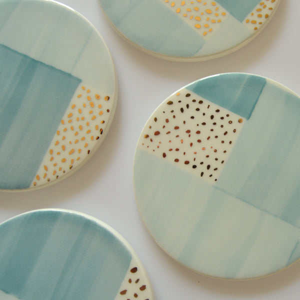 Ceramic Coasters | Aura Blue Dot