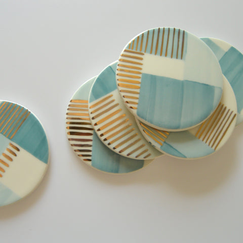 Ceramic Coasters | Aura Blue Stripe